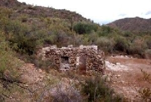 Remains of the Burfind Hotel in Gillett, Arizona
