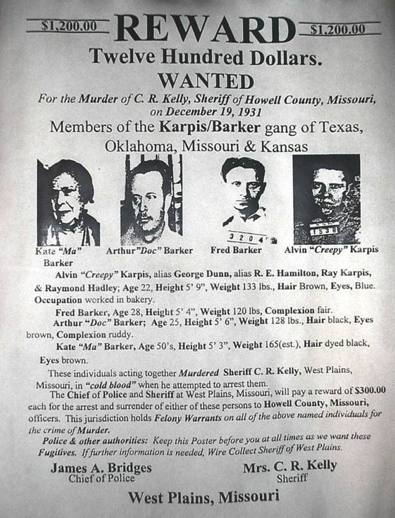 Barker-Karpis Gang Wanted Poster