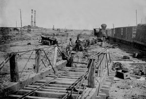 Railroad wrecked by retreating Confederates