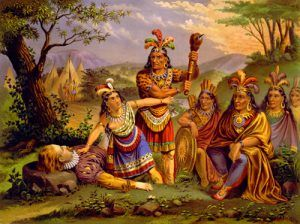 Pocahontas saving John Smith, New England Chromo Co,1870