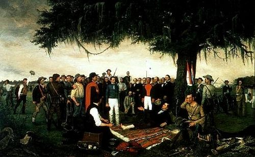 William Huddle's 1886 depiction of the end of the Texas Revolution shows Mexican General Santa Anna surrendering to the wounded Sam Houston after the Battle of San Jacinto in 1836.
