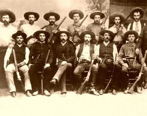 Texas Rangers Company D 1887 in Realitos, Texas. Baz Outlaw, back row, 2nd from left
