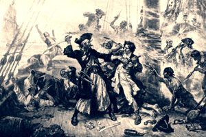 Blackbeard the Pirate and Lieutenant Maynard fighting in Ocracoke Bay