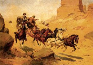 Indians attacking stagecoach