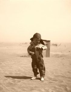 Son of farmer in the dust bowl, Cimarron County, Oklahoma