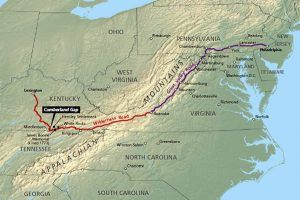 Wilderness Road map, courtesy National Park Service