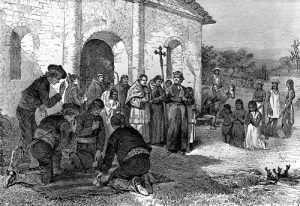 A religious ceremony at the Mission San Antonio de Valero.