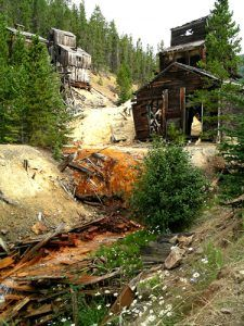 An abandoned mine site on Galena Creek in the Barker Mining District.