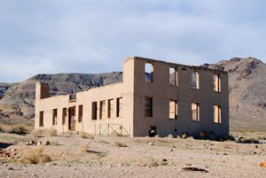 All that's left of the Rhyolite school by Kathy Weiser-Alexander.