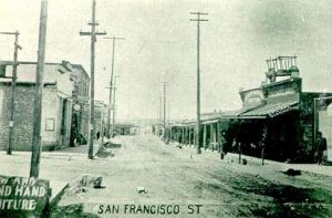 Vintage photograph of San Francisco Street in Santa Fe