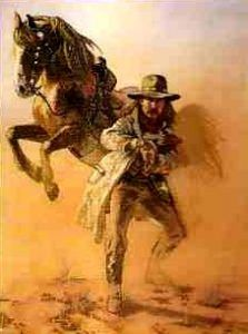 Painting of a Texas Ranger by Hermon Adams