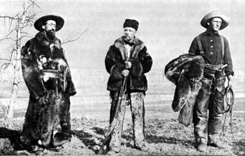 Wilmot Dow, Theodore Roosevelt and Bill Sewall at the Elkhorn Ranch in North Dakota.