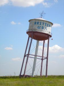 Britten, USA water tower just west of Alanreed on I-40, August, 2007,