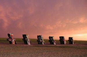 A storm rolls in at Cadillac Ranch near Amarillo, Texas. Photo by Dave Alexander.