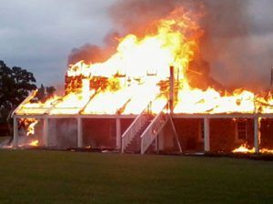 South barracks blazing, photo courtesy KXII Channel 12 News.