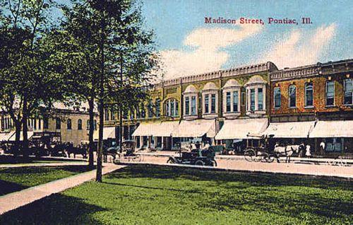 Madison Street, Pontiac, Illinois early 1900s