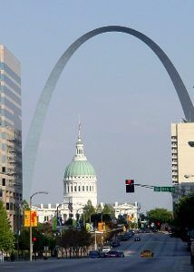 St. Louis Courthouse framed by the St. Louis Arch by Kathy Weiser-Alexander.