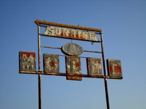 The motel is long gone, the old sunrise Motel sign still stands in Sullivan, Missouri.