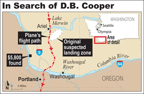 D.B. Cooper Search Map