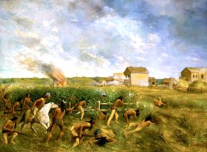 Attack of New Ulm, Minnesota during the 1862 Dakota War, painting by Anton Gag, 1904.
