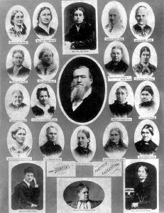 Brigham Young was an ardent supporter of polygamy, marrying 56 wives during his  lifetime and fathering 57 children. This photo shows less than half of his wives.
