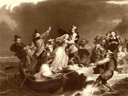Landing of the Pilgrims on Plymouth, by Peter Frederick Rock Rothermel, 1869