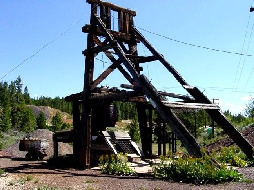 Headframe at the Matchless Mine, August, 2003, Kathy Weiser