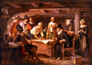 Mayflower Compact, by Jean Leon Gerome Ferris, 1932