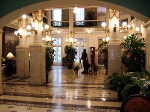 Inside the lobby of the Menger Hotel