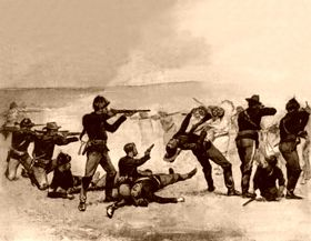 Opening of the fight at Wounded Knee, by Frederic Remington, 1891