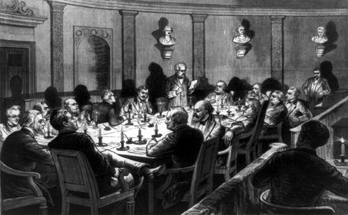 Politicians in secret session,Frank Leslie's illustrated 1877.