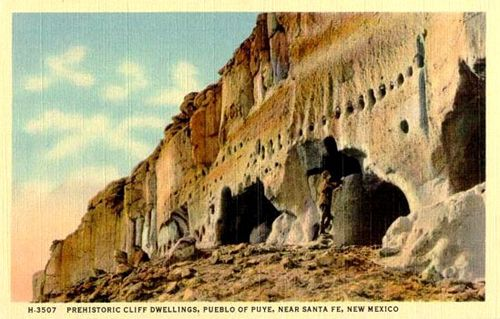 Puye Cliff Dwellings postcard.