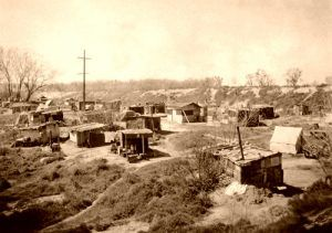 A Hooverville in Sacramento, California.
