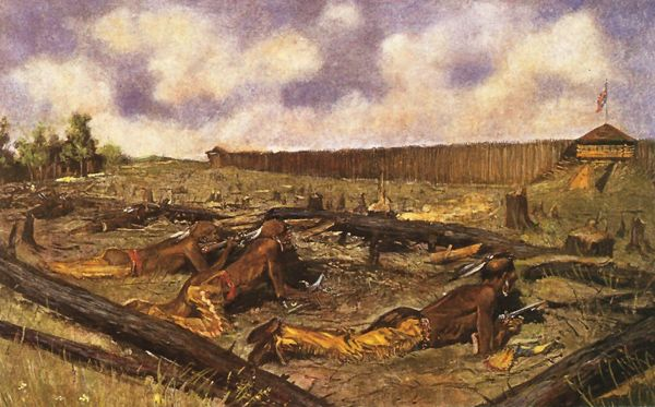 Siege of the Fort at Detroit, 1763 by Frederic Remington