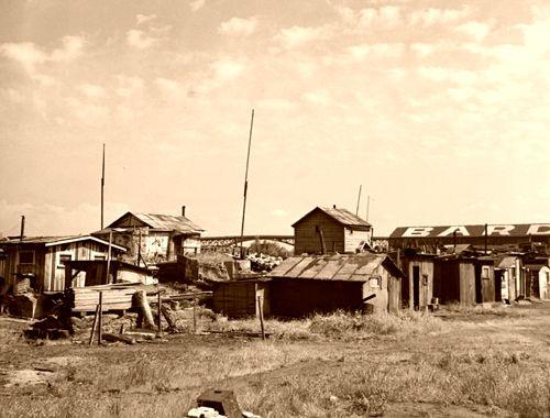 "Squatter's shacks in ""Hooverville,"" Portland, Oregon, Arthur Rothstein, 1936."