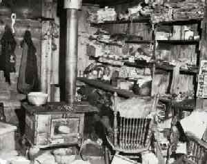 Baby Doe's Cabin Interior after her death in 1935, courtesy Denver Public Library