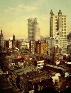 New York City, William Henry Jackson, published  and colorized by the Detroit Publishing Co., 1901.