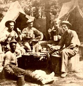 Dinner in a Civil War camp