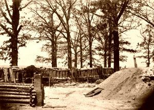 Brick, wood, earth, and gabion fortifications at Fort Steadman in Petersburg, Virginia,