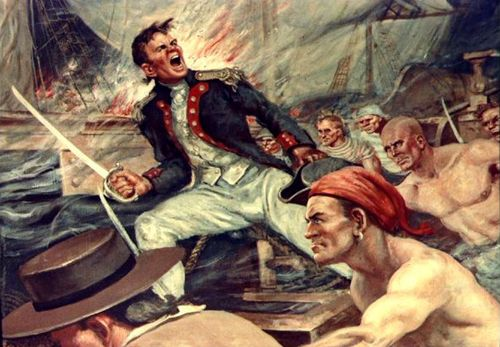 """I have not yet begun to fight!"" - John Paul Jones, painting by  Charles J. Andres."