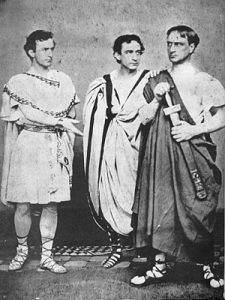 John Wilkes Booth and brothers Edwin and Junius in the play Julius Caesar in 1864