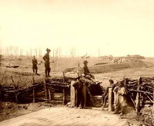 Federal soldiers at a Confederate fortification at Manassas, Virginia