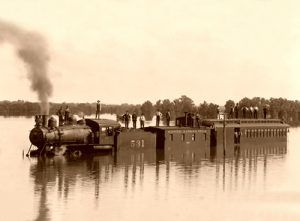Missouri-Kansas-Texas train under several feet of water,1904