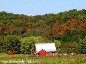 Beautiful Fall Foliage along Highway MO19 near Hermann, Missouri.