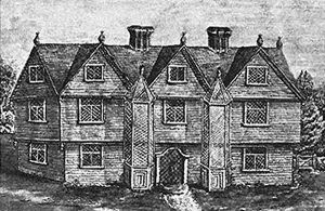 A drawing of the Downing home, which was on the property that John Proctor purchased in 1666.