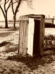 Outhouse in Shantytown, Spencer, Iowa, 1936