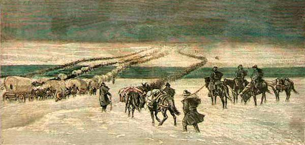 Powder River Expedition crossing the Platte River