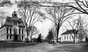 Topsfield Town Hall and Church, 1910