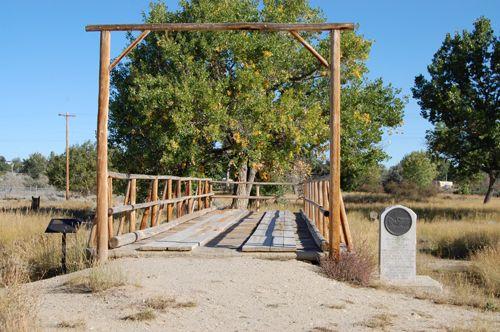 A replica of Guinard's Bridge at Fort Caspar today