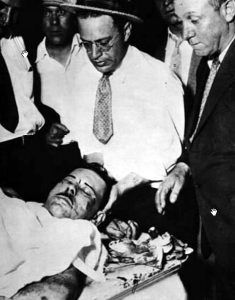 The body of John Dillinger after the shootout.